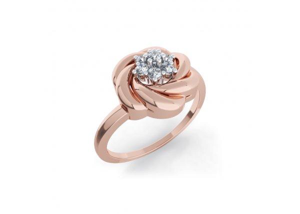 18K Rose Gold IF-HI Diamond Ring 0.077 ct-SDR2090