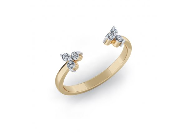 18K Yellow Gold IF-HI Diamond Ring 0.066 ct-SDR3769