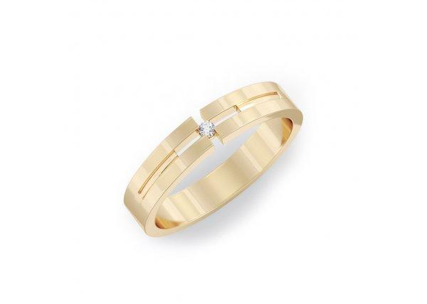 18K Yellow Gold IF-HI Diamond Ring 0.02 ct-SDR2116