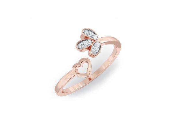 18K Rose Gold IF-HI Diamond Ring 0.054 ct-SDR2142