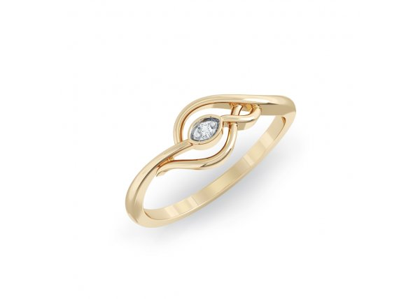 18K Yellow Gold IF-HI Diamond Ring 0.011 ct-SDR2146