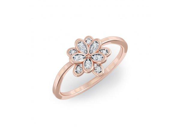 18K Rose Gold IF-HI Diamond Ring 0.09 ct-SDR2160
