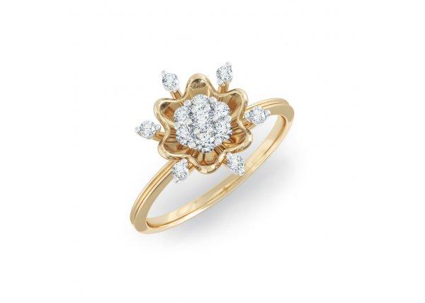 18K Yellow Gold IF-HI Diamond Ring 0.205 ct-SDR2164