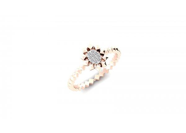 18K Rose Gold IF-HI Diamond Ring 0.06 ct-SDR2513