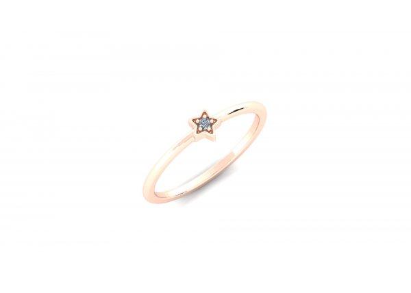 18K Rose Gold IF-HI Diamond Ring 0.015 ct- SDR2685