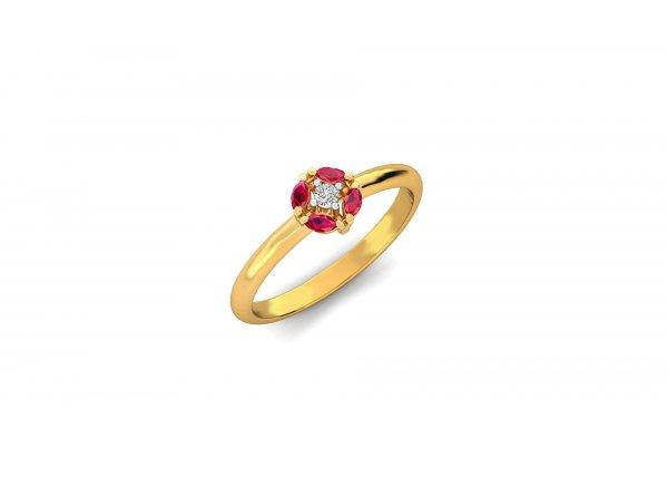 18K Yellow Gold IF-HI Diamond Ring 0.035 ct-SDR2871