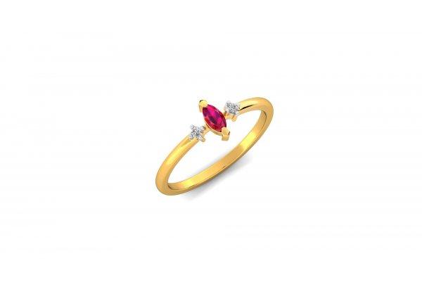 18K Yellow Gold IF-HI Diamond Ring 0.03 ct- SDR2915