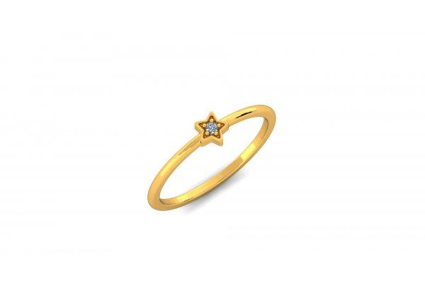 18K Yellow Gold IF-HI Diamond Ring 0.015 ct- SDR2937