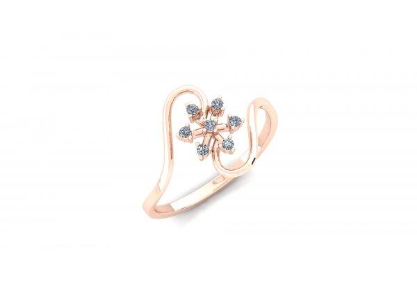 18K Rose Gold IF-HI Diamond Ring 0.105 ct-SDR2939