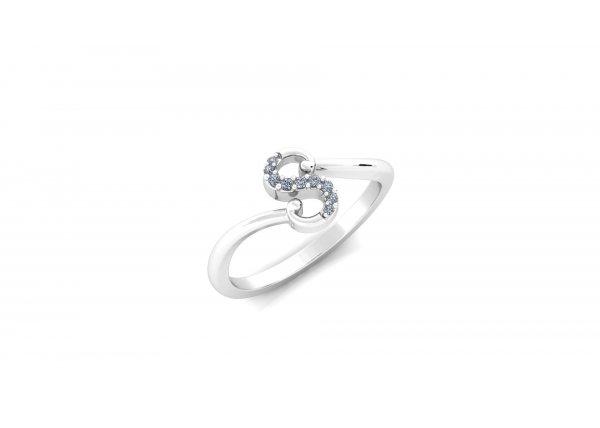 18K White Gold IF-HI Diamond Ring 0.048 ct-SDR2771 A