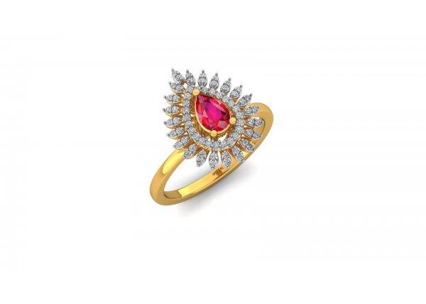 18K Yellow Gold IF-HI Diamond Ring 0.272 ct-SDR3013