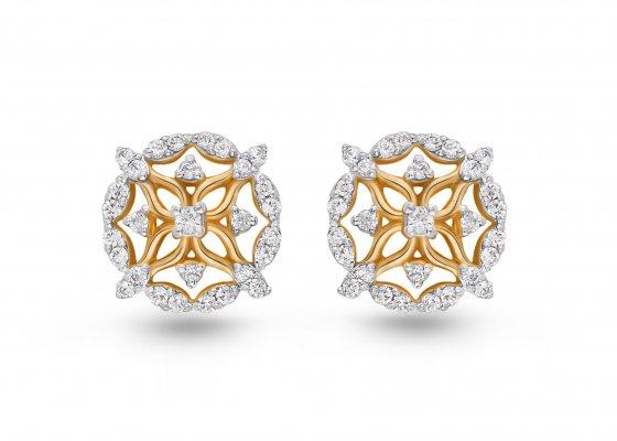 18K Yellow Gold Colour Clarity Floweret Grace Diamond Earring 0.488Ct SG05858E