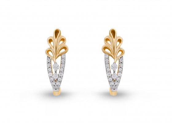 18K Yellow Gold Colour Clarity Golden Leaf Diamond Earring 0.500Ct SG15666E
