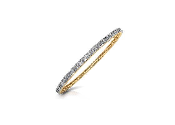 18K Yellow Gold IF-FG Diamond Bangle 1.02 ct