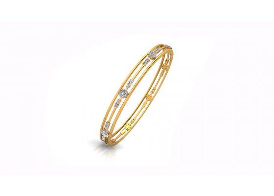 18K Yellow Gold IF-HI Diamond Bangle 1.2 ct-SDBA1159