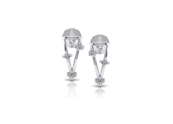 18K White Gold IF-FG Diamond Earring 0.066 ct-SDER1793