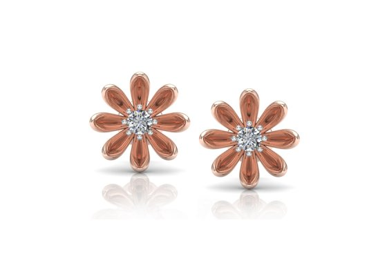18K Rose Gold IF-FG Diamond Earring 0.12 ct-SDER1863