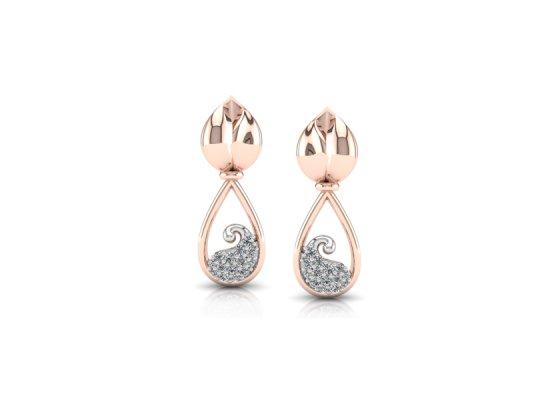 18K Rose Gold IF-FG Diamond Earring 0.118 ct-SDER1869