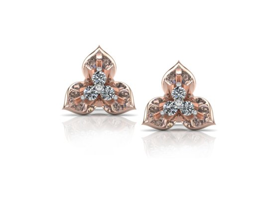 18K Rose Gold IF-FG Diamond Earring 0.15 ct-SDER1872