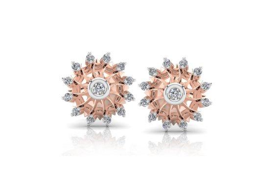 18K Rose Gold IF-FG Diamond Earring 0.166 ct-SDER1996