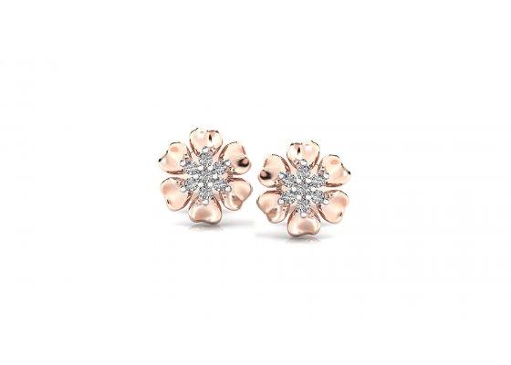 18K Rose Gold IF-HI Diamond Earring 0.14 ct-SDER2487