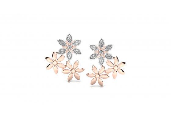18K Rose Gold IF-HI Diamond Earring 0.198 ct-SDER3159