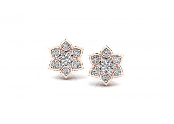 18K Rose Gold IF-HI Diamond Earring 0.182 ct-SDER3266