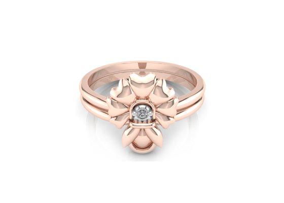 18K Rose Gold IF-FG Diamond Ring 0.015 ct-SDR1521