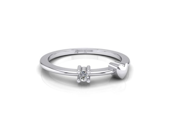 18K White Gold IF-FG Diamond Ring 0.02 ct-SDR1631