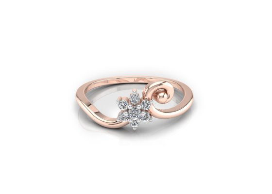 18K Rose Gold IF-FG Diamond Ring 0.057 ct