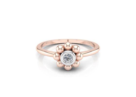 18K Rose Gold IF-FG Diamond Ring 0.035 ct