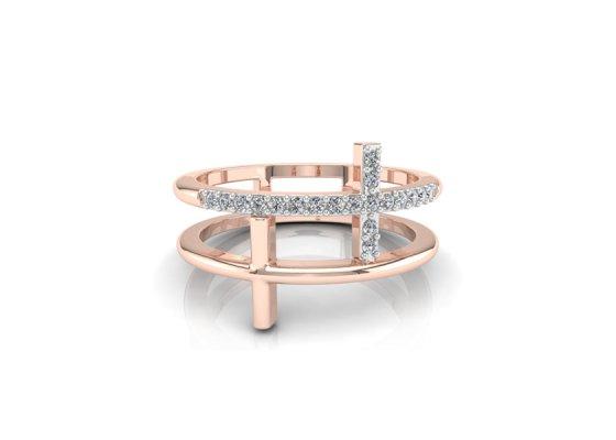 18K Rose Gold IF-FG Diamond Ring 0.095 ct-SDR1937