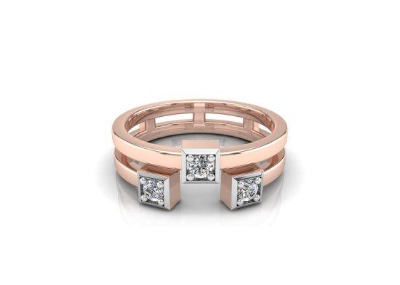 18K Rose Gold IF-FG Diamond Ring 0.105 ct