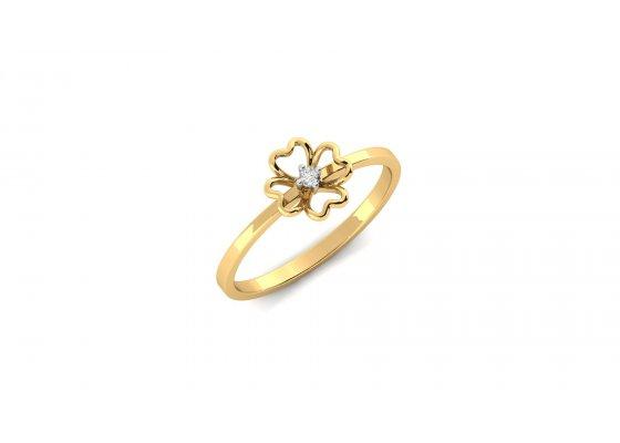 18K Yellow Gold IF-HI Diamond Ring 0.015 ct-SDR1976