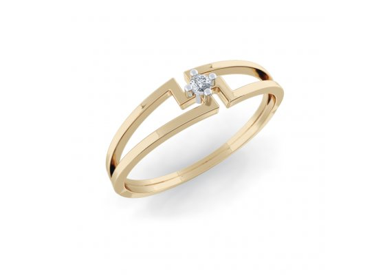18K Yellow Gold IF-HI Diamond Ring 0.015 ct-SDR2022