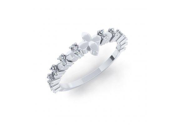18K White Gold IF-HI Diamond Ring 0.12 ct-SDR2092