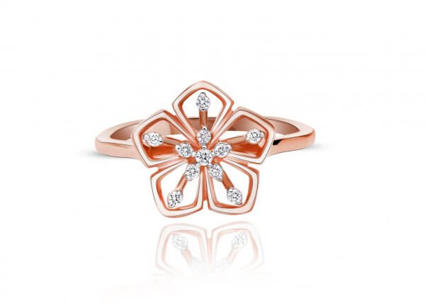 18 K Rose Gold Nila Diamond Ring