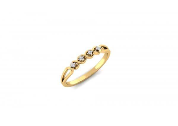 18K Yellow Gold IF-HI Diamond Ring 0.044 ct-SDR2049