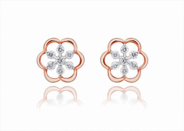 18K Rose Gold Hazel Diamond Earring
